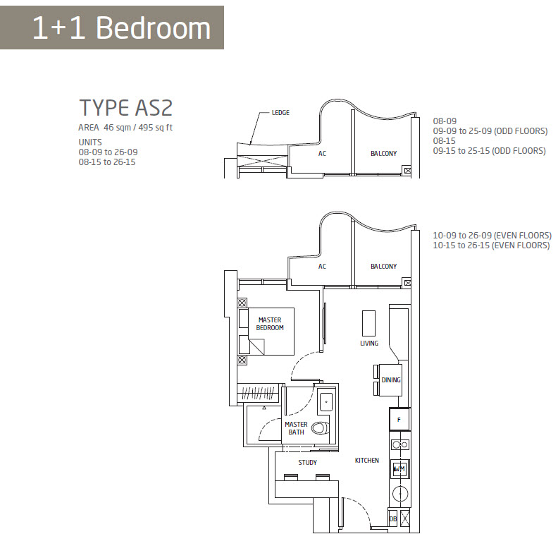 Queens Peak 1-bedroom-study